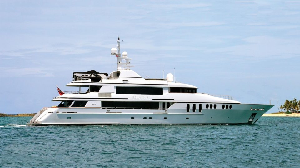 claire mega yacht for charter