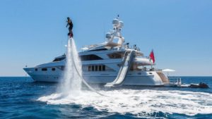 yacht with a flybooard