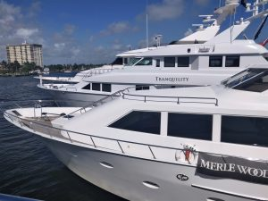 TRANQUILITY 130-foot Hatteras luxury yacht at 2020 Fort Lauderdale International Boat Show FLIBS with Merle Wood & Associates