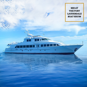TRANQUILITY 130-foot Hatteras luxury yacht at 2020 FLIBS Fort Lauderdale boat show with Merle Wood & Associates