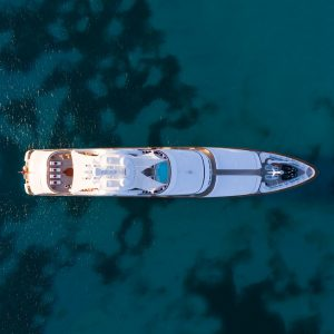 FLAG 204-foot Feadship for sale with Merle Wood & Associates aerial