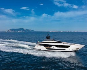 FALCON CA Ferretti Custom Line CL106 108-foot luxury Italian superyacht for sale with Merle Wood & Associates