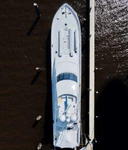 MARY P 122-foot Trinity luxury sportfish yacht aerial photo